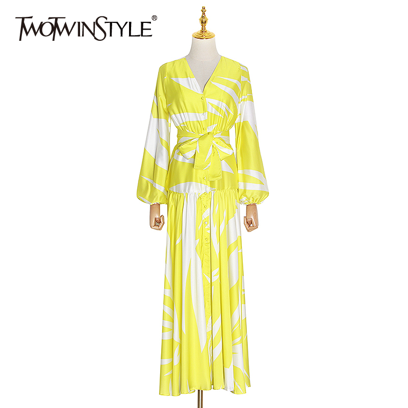 TWOTWINSTYLE Vinatge Print Women Dresses V Neck Lantern Long Sleeve High Waist Lace Up Bow Hit Color Ruched Maxi Dress Female