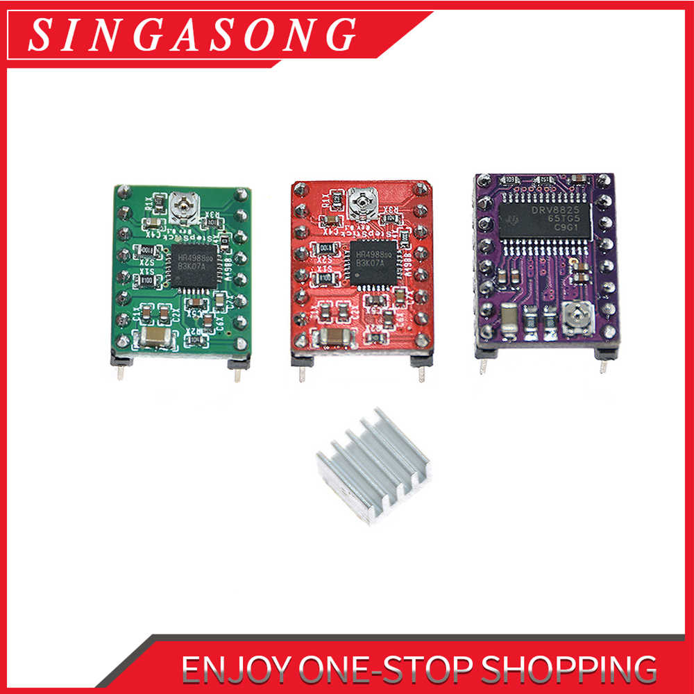 Free shipping! Reprap Stepper Driver A4988 DRV8825 Stepper Motor Driver Module with Heatsink.