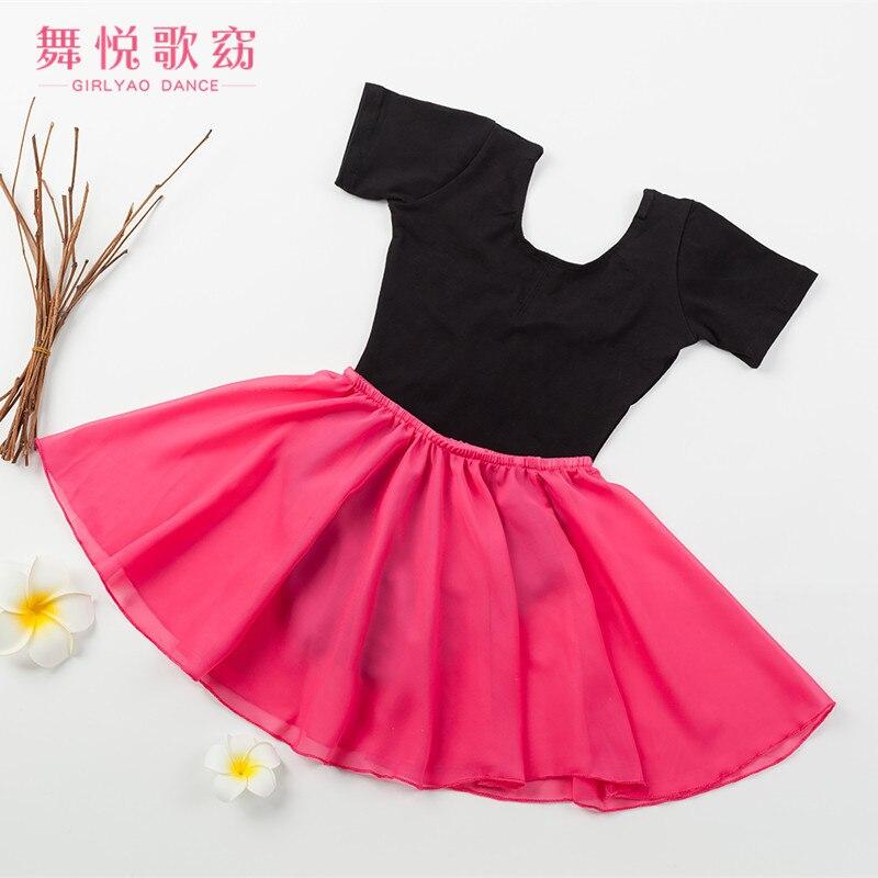 Girls Summer Short-sleeved Leotards 2 Pieces Ballet Elastic Chiffon Dress Open File Form Grading Test Service