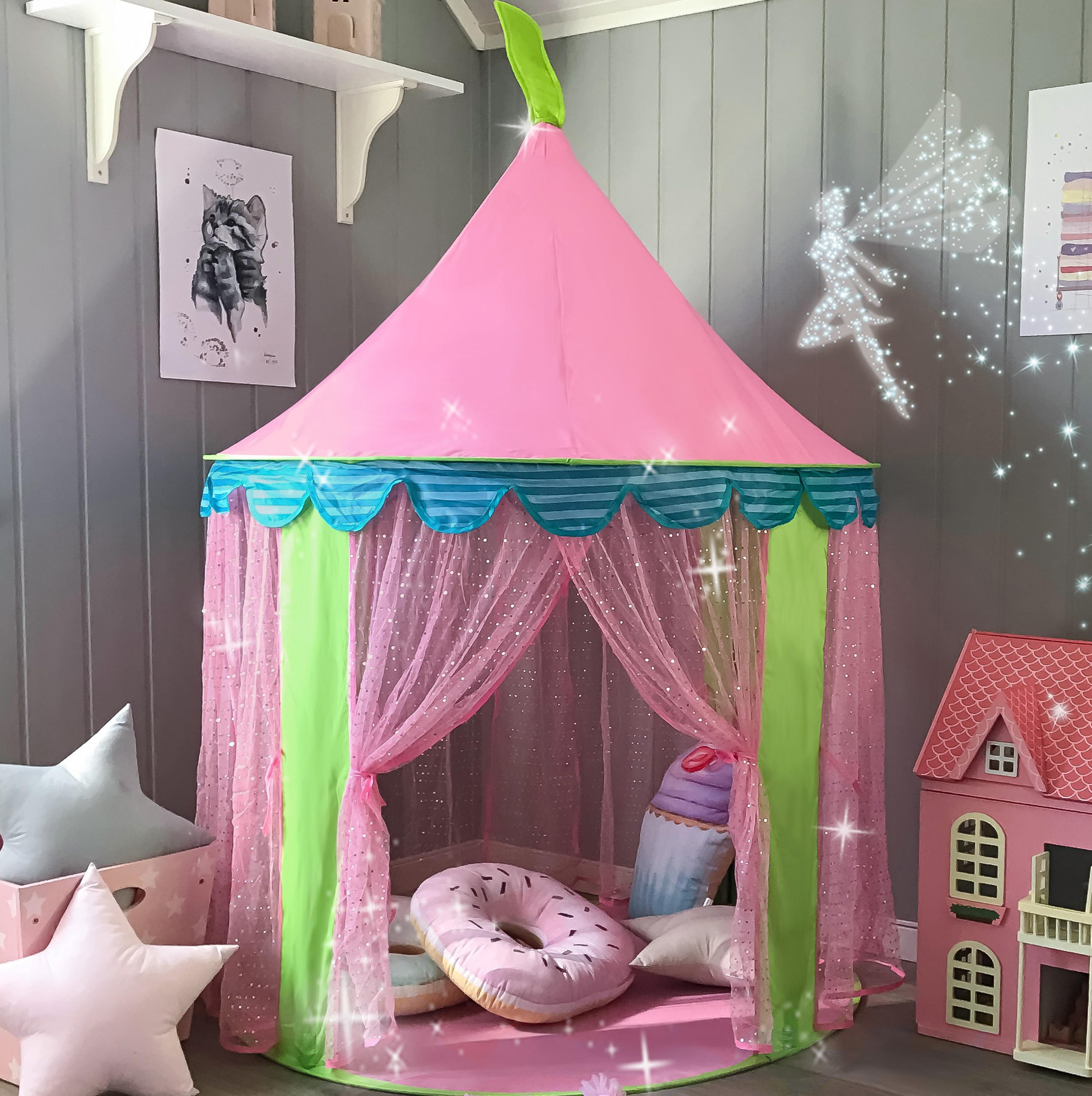 Play Teepee Tent for kids Princess Castle Indoor & Outdoor Pink Sheer Girls image