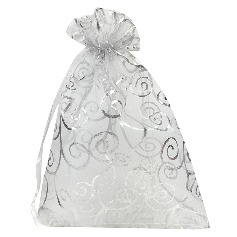 50pcs 5x7 Inches Drawstrings Organza Gift Candy Bags Wedding Favors Bags(White + Silver)