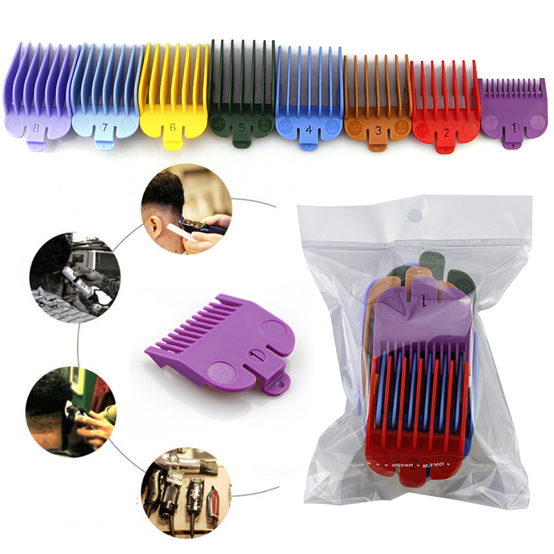 2020 New Arrival 8Pcs  Universal Hair Clipper Limit Comb Guide Attachment Size Barber Replacement For Wahl With Clip TSLM1