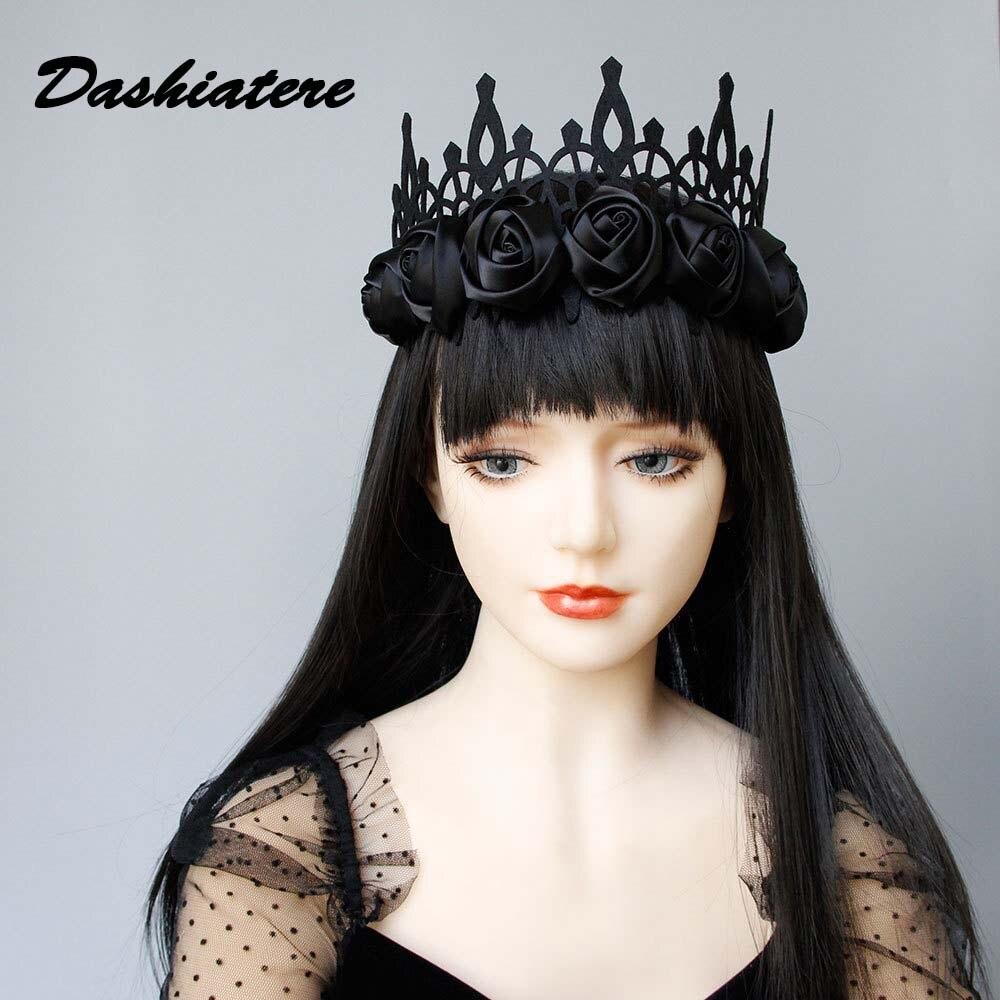 Black Ribbon Rose Tiara Baroque Goth Crown Queen Annual Party Halloween Queen Princess Girls Flower Hair Accessories for Women(China)