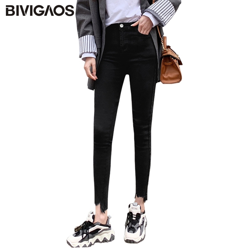 BIVIGAOS 2020 Women Irregular Hem Slim Elastic Jeans Pencil Pants Korean Magic Pants Leggings Button Zipper Black Skinny Pants