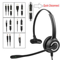 128MP Telephone Operator Headphone with Noise reduction MIC Call Center 8 Hours Talking Headset Over-ear Single Side Earphone