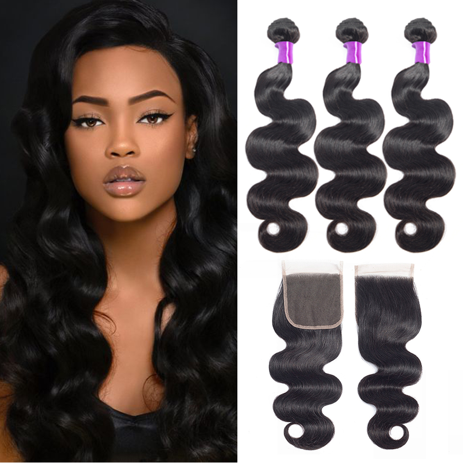 Liddy Bundles With Closure Brazilian Body Wave Hair 3 Bundles With Closure 100% Human Hair Natural Color Non-remy Hair Extension