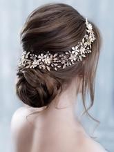 Trendy Gold Pearl Flower Bridal Headband tiara Wedding Hair Vine Headpiece Handmade Women Hair Jewelry Wedding Hair Accessories недорого