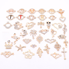 All 10pcs Gold Jewelry Accessories Animal Plant Rhinestone Connectors Charms for Jewelry Making DIY Jewelry Components Wholesale cheap HEYUYAO 0 5cm Connectors with Rhinestone 1 8cm 2 3cm Jewelry Findings Metal Zinc Alloy RhinestoneConnectors Alloy Connector + Rhinestone