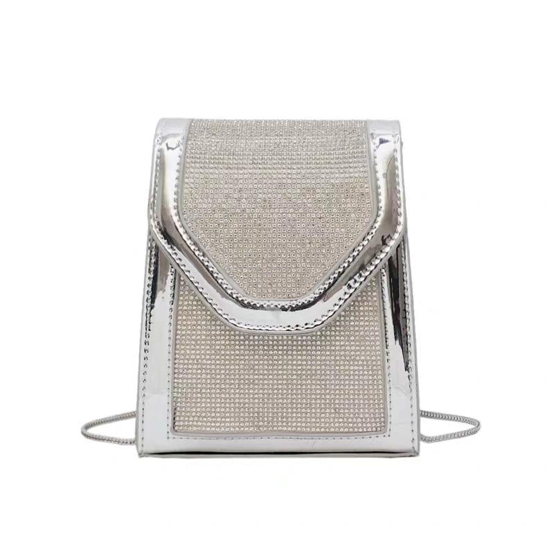 JUILE Fashion Snake Bone Chain Women shoulder Bag designer shiny diamond Female Messenger bag temperament Womens Wild handbag