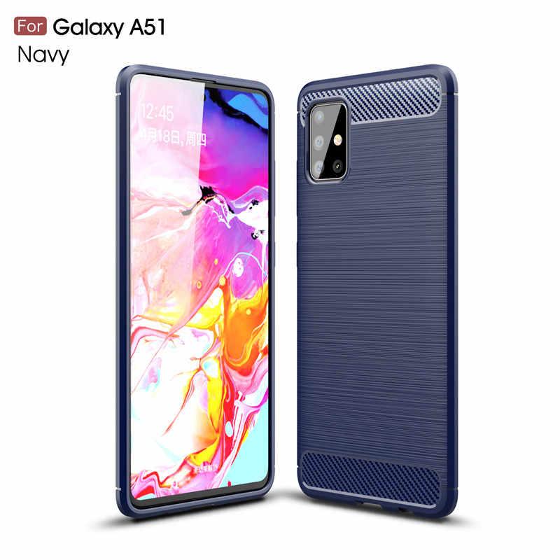 """Per il Caso di Samsung Galaxy Copertura Del Telefono A51 SM-A515FN Antiurto Molle di TPU Spazzolato Caso Della Parte Posteriore Per Samsung Galaxy A51 di Caso di Shell 6.5"""""""