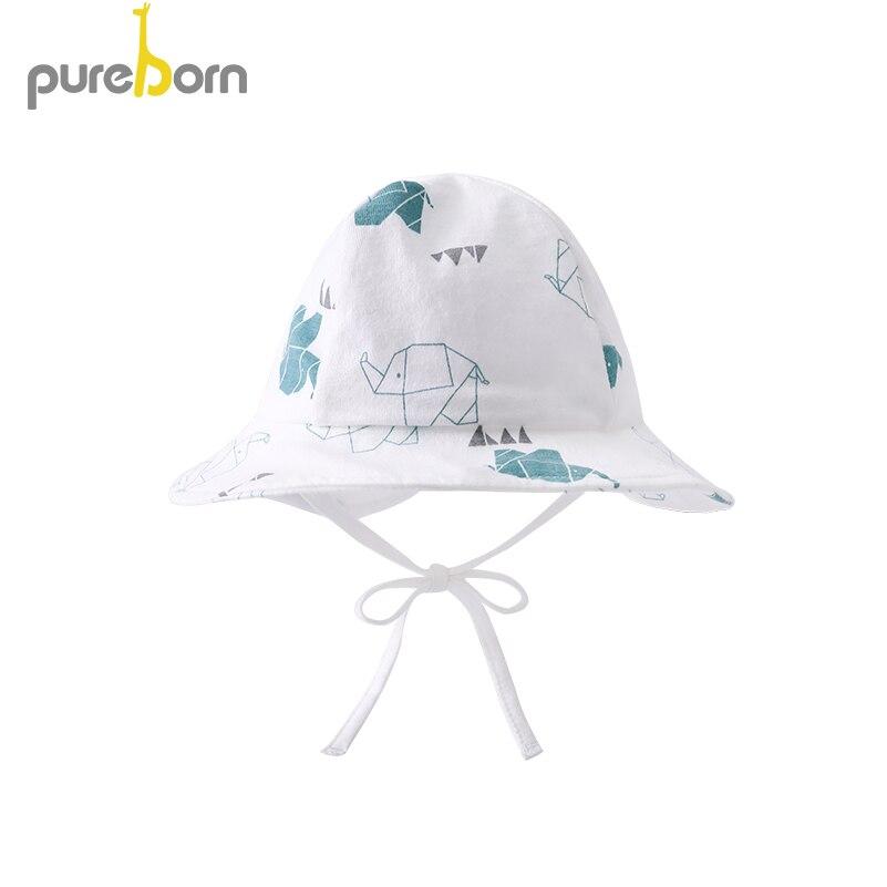Pureborn Newborn Baby Hat Cap Adjustable Baby Sunhat Cotton Cartoon Baby Beach Swimming Bucket Hat Fishing Floppy Summer Hat