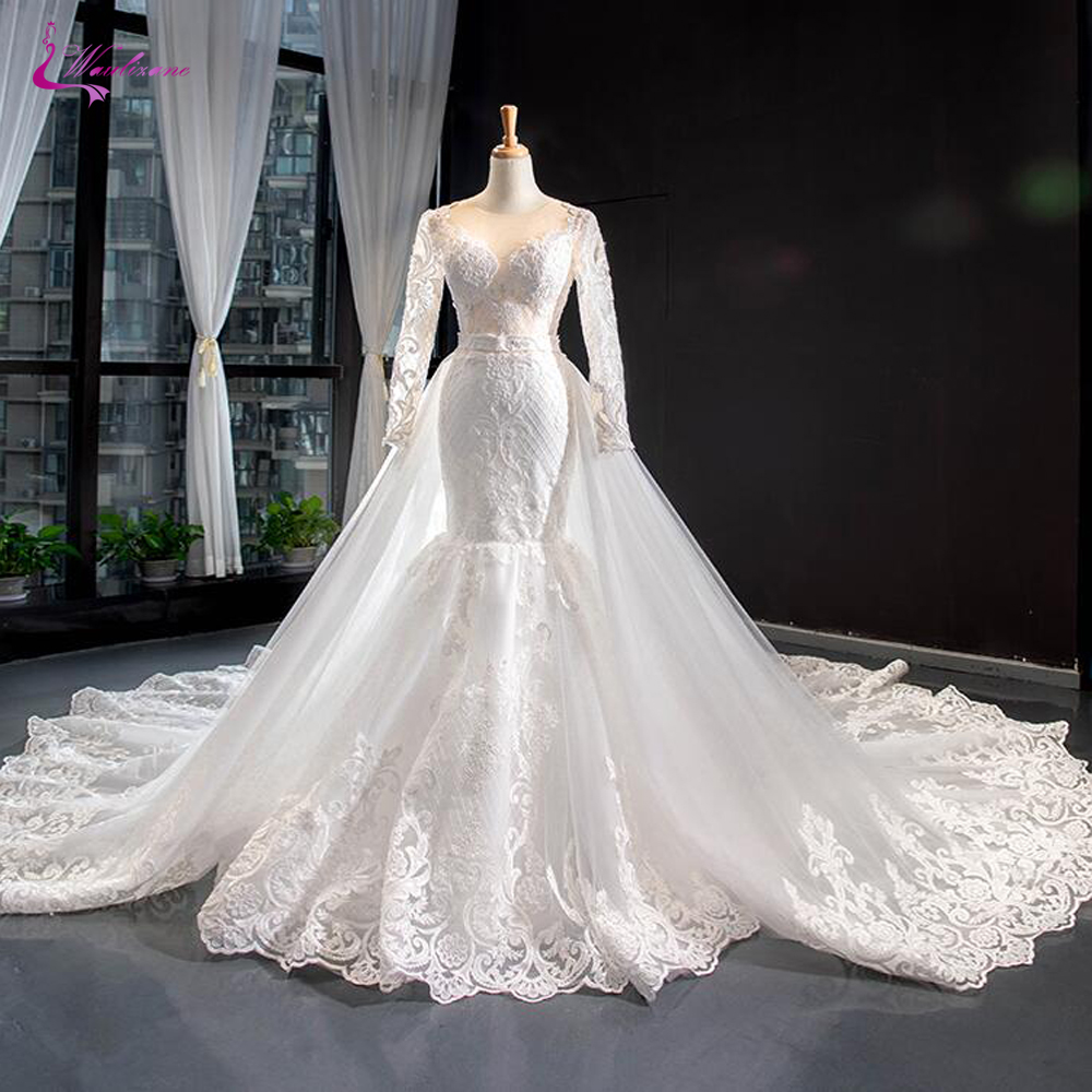 Waulizane 2020 Long Sleeve Of 2 In 1 Wedding Dress Corset Back Gorgeous Bride Dress
