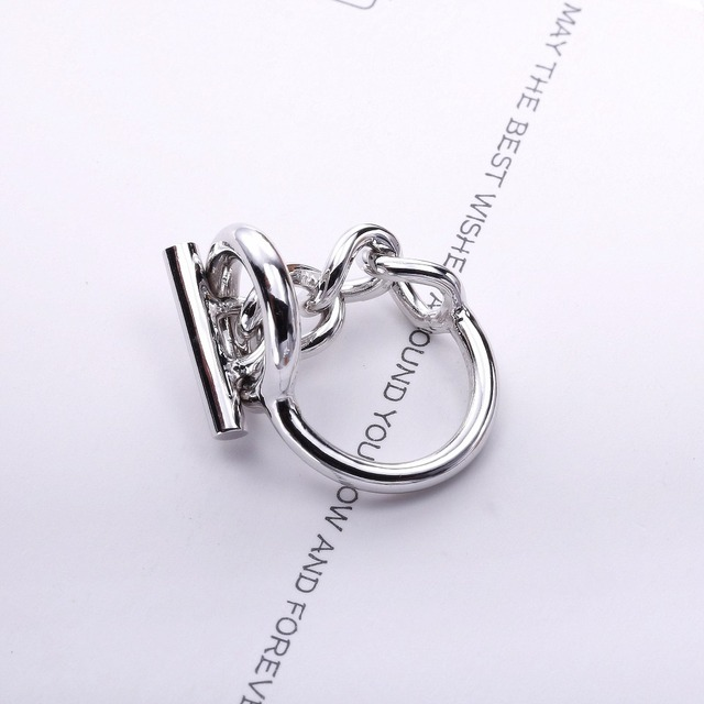 Moonmory 925 Sterling Silver Rope Chain Ring With Hoop Lock For Women French Popular Clasp Ring Sterling Silver Jewelry Making