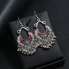 Vintage Hollow Heart-shaped Drop Earrings Antique Carved Flower Tassel Bead Dangle Earring Silver Alloy Ethnic Female Jewelry
