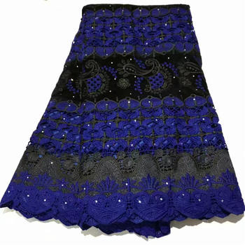 Blue Nigerian French Mesh Lace Fabrics 2020 Latest Embroidered Lace African Laces Fabric With Beaded For Party Y1500