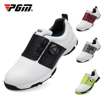 Pgm Golf Shoes Men Leather Waterproof Sneakers Anti-slip Automatic Shoelace Soft Comfort Breathable Sport Golf Training Shoes