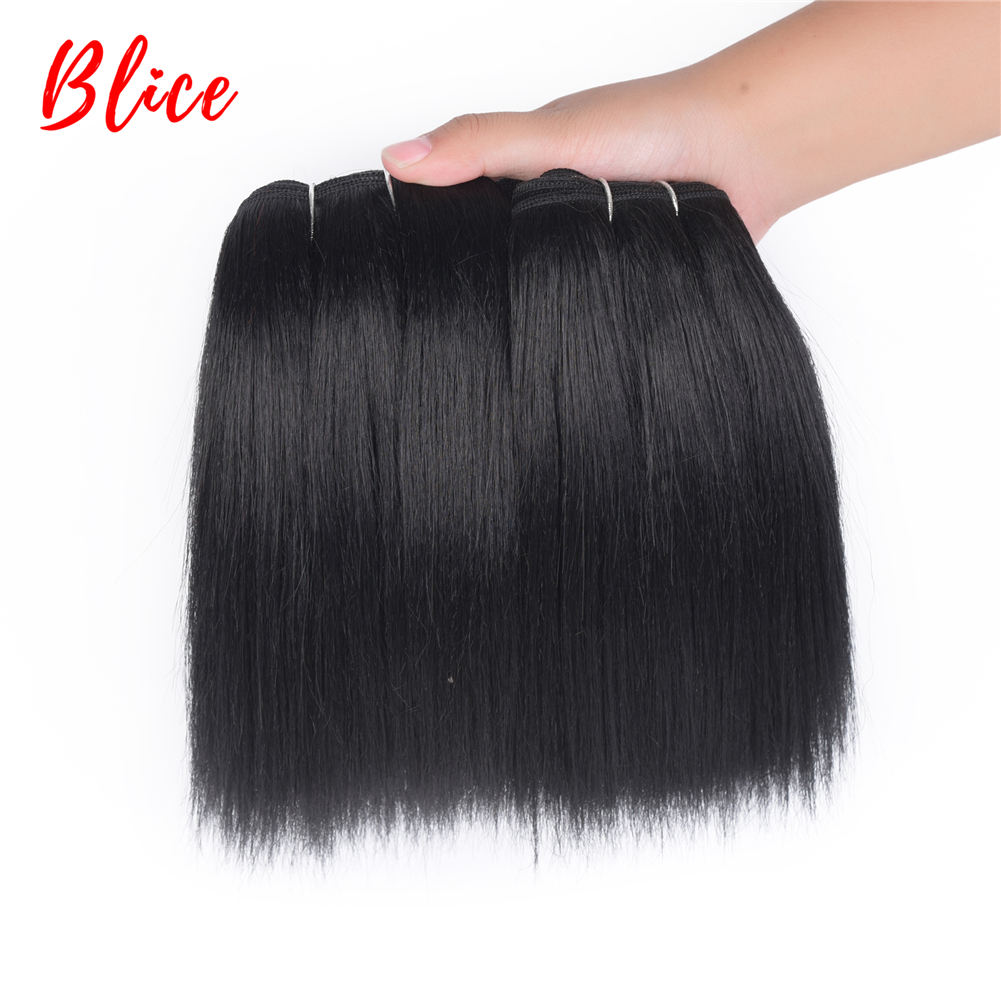 Blice 10-22 Inch Hair Weaving 1 Piece/PCK Natural Color Bundles Yaki Straight Double Weft Synthetic Hair Extensions Mixed Hair