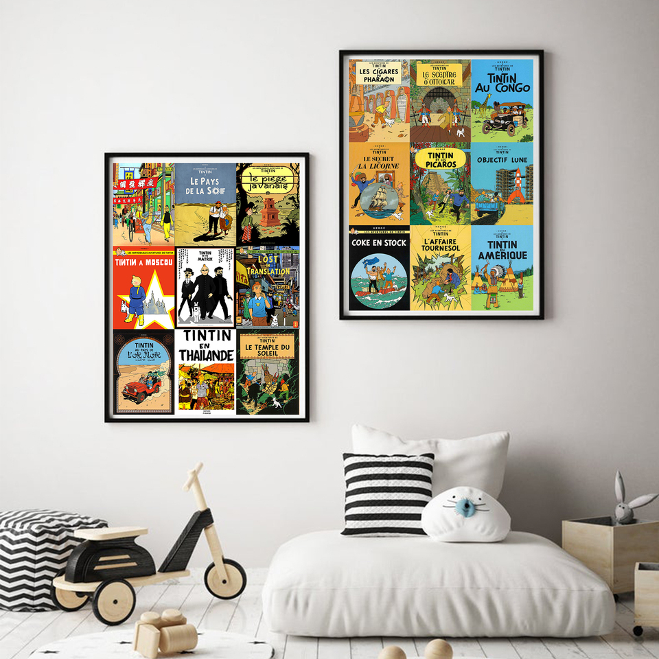 Mars Exploration The Adventures of Tintin Dog Comic Canvas Painting Vintage Kraft Poster Coated Wall Stickers Home Decor Gift 20x30CM N frame