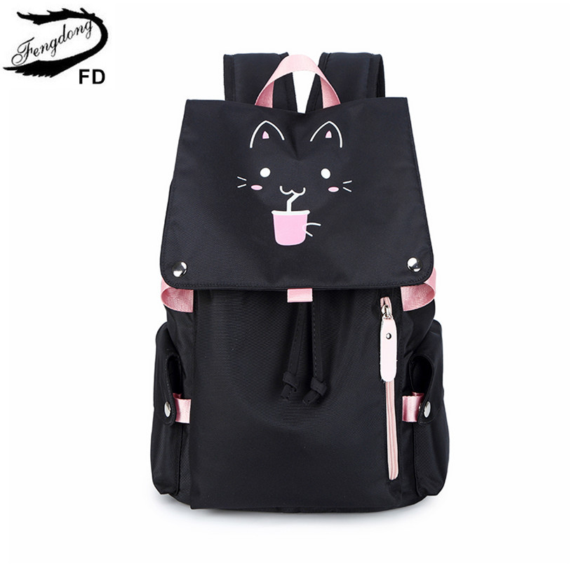 Fengdong Cute Kids school backpack waterproof nylon school bags for girls student luminous backpack reflective strip girl gift