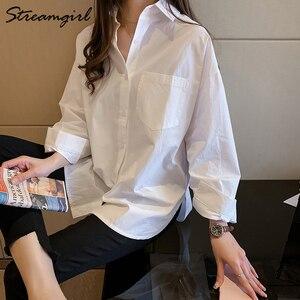 Image 2 - נשים חולצות רשמיות בציר חולצה נשים בתוספת גודל חולצות OL תחתונית Femme מאנש לונג 4XL גדול כותנה חולצה לבנה נשים