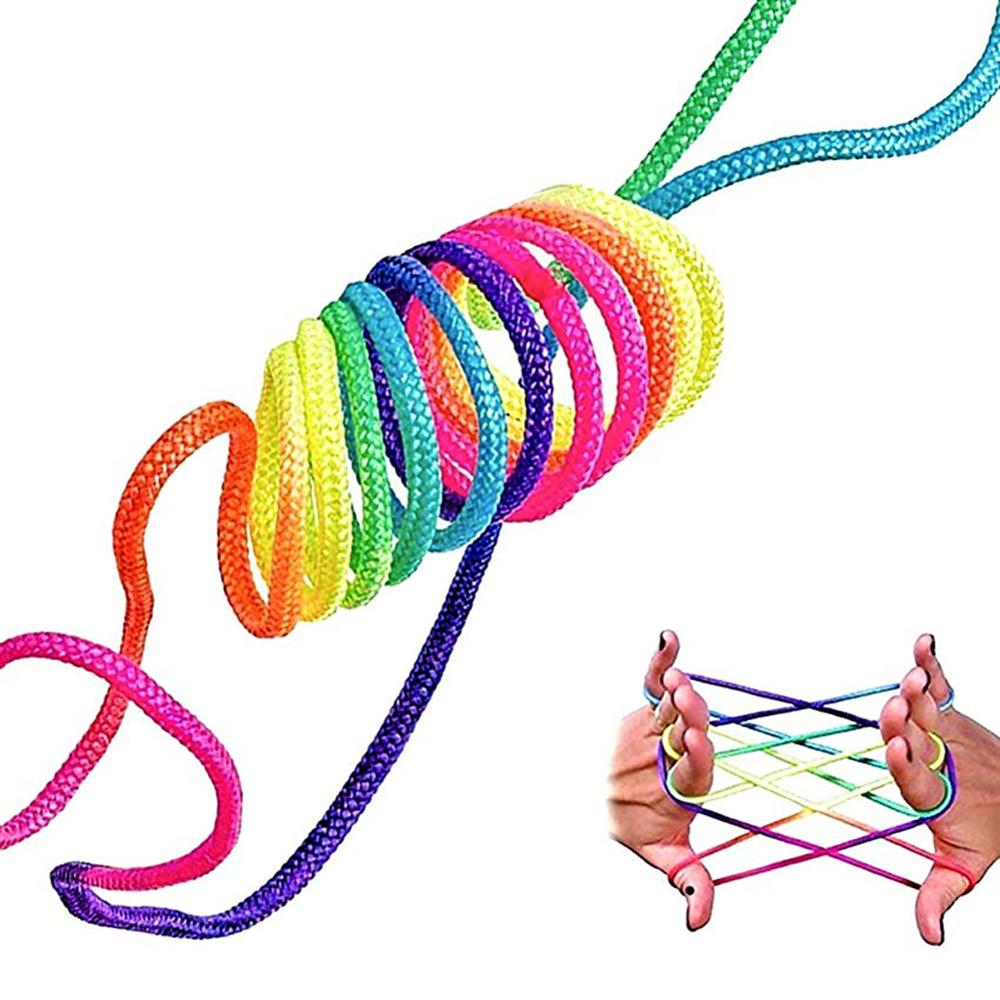 Kids Children Finger Rope Game Rainbow Color Thread Various Figures Puzzle Toy Clear Texture Strong Durable Bright Color