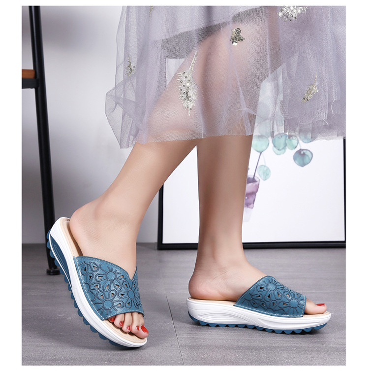 AH 1975-2020 Genuine Leather Womens Flat Slides Casual Hollows Summer Beach Flip Flops-10