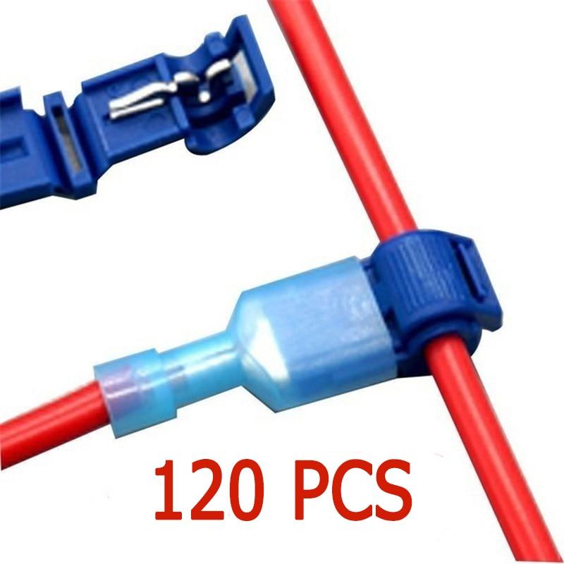 120 Uds terminales de conectores de cables Crimp Scotch Lock empalme rápido Audio eléctrico para coche 22-10AWG 0,5mm-6mm Kit de herramientas