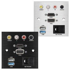 86 * 86 мм мультимедийная панель из алюминиевого сплава для настольного / настенного монтажа разъем с аудио видео HDMI USB VAG сетевой разъем jack