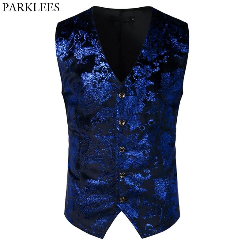 Luxury Royal Blue Paisley Bronzing Vest Men Slim Fit V Neck Wedding  Suit Vests Mens Gothic Aristocrat Steampunk Victorian Gilet