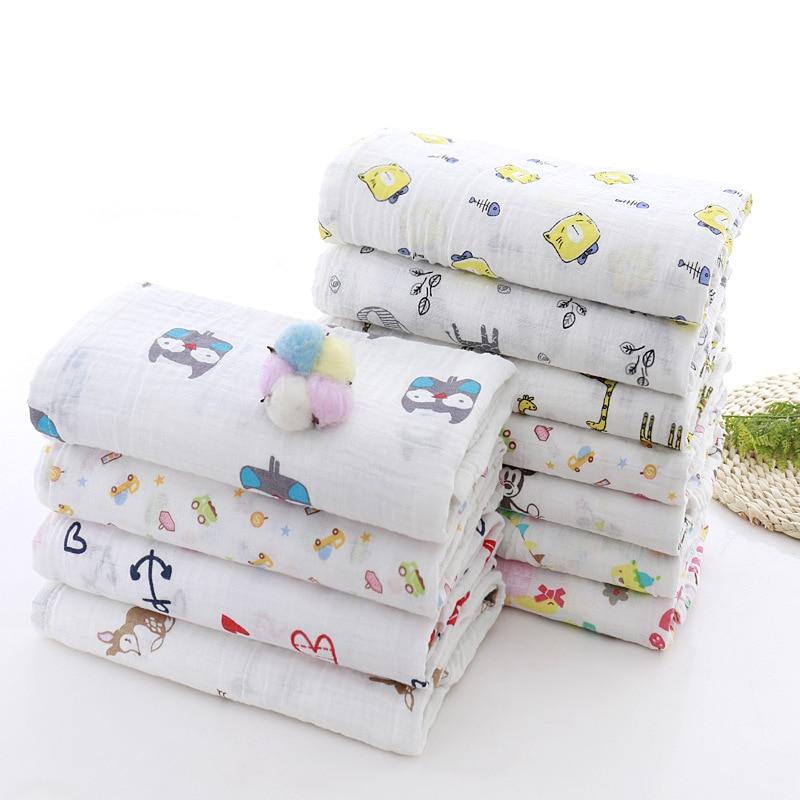 Muslin 100% Cotton 110*120CM Baby Swaddles Soft Newborn Blankets Bath Gauze Infant Wrap Sleepsack Stroller Cover Play Mat