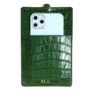 Image 2 - 本革カードホルダーiphone 12ミニプロマックス11 12Pro xs xr電話高級クロコダイルストラップ薄いバッグカバー