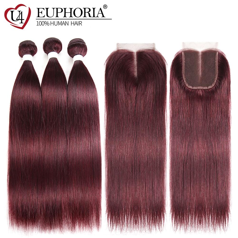 99J/Burgundy Human Hair 3 Bundles With Lace Closure Euphoria Brazilian Straight Hair Weaves With Closures Remy Human Bundle Hair