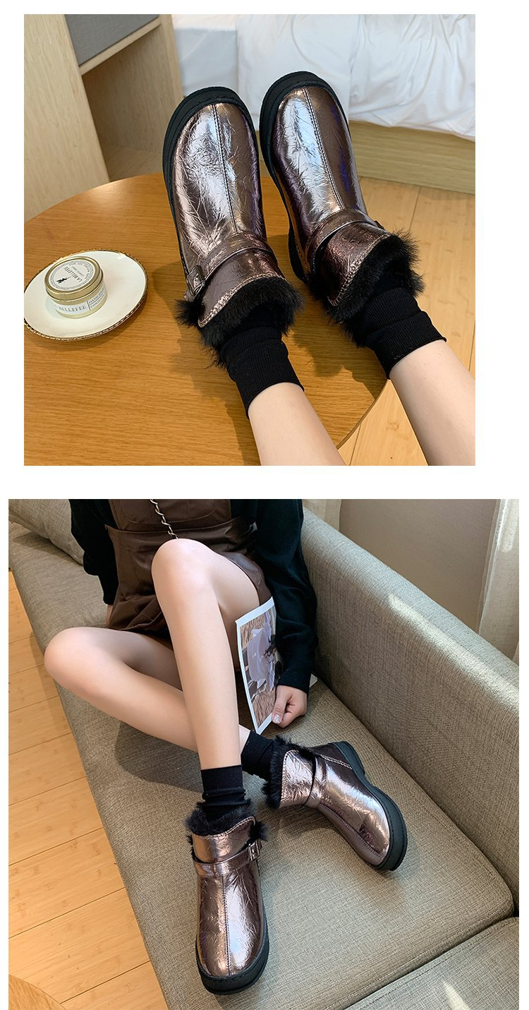 Winter snow boots for women, outdoor fur shoes, women's warm shoes, wool boots, solid rhinestones, casual women's boots 103