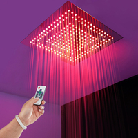 16Square LED Shower Head Rainfall Water Saving Rain Showerheads Remote Control LED Light Bathroom Shower Faucet Ceiling Showers