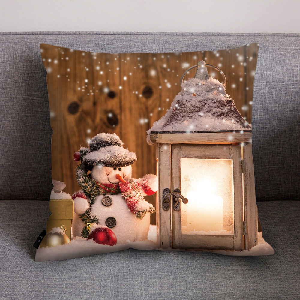 Christmas Pillowcase Xmas Print Dyeing Decorative Pillowcase Living Room Decoracione Poszewka Federe Cuscino Quadrati Dropship #