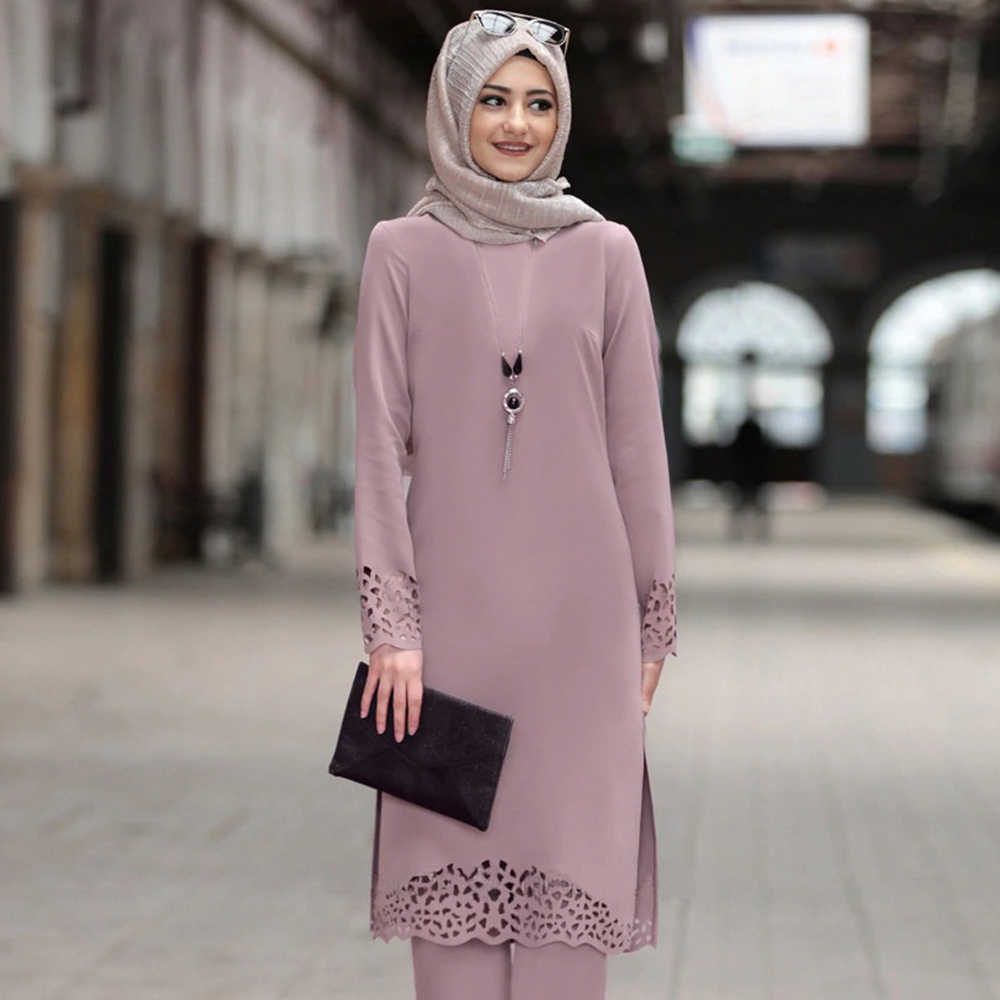 Muslim Women Dress Knee Length Long Solid Burn Out Side Split Plain Top Elegant O neck long-sleeve Turkey Arab Islam Clothing