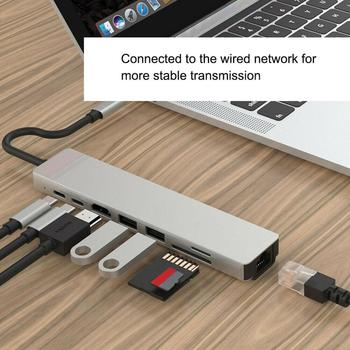 8 in 1 usb c hub type c to 3 usb 3 0 hdmi tv video adapter rj45 ethernet network sd sdhc tf card reader converter for macbook 8-In-1 USB C Hub Type C to HDMI RJ45 Ethernet USB 3.0 Ports SD/TF Card Reader USB-C PD Power Delivery for MacBook Pro Dock