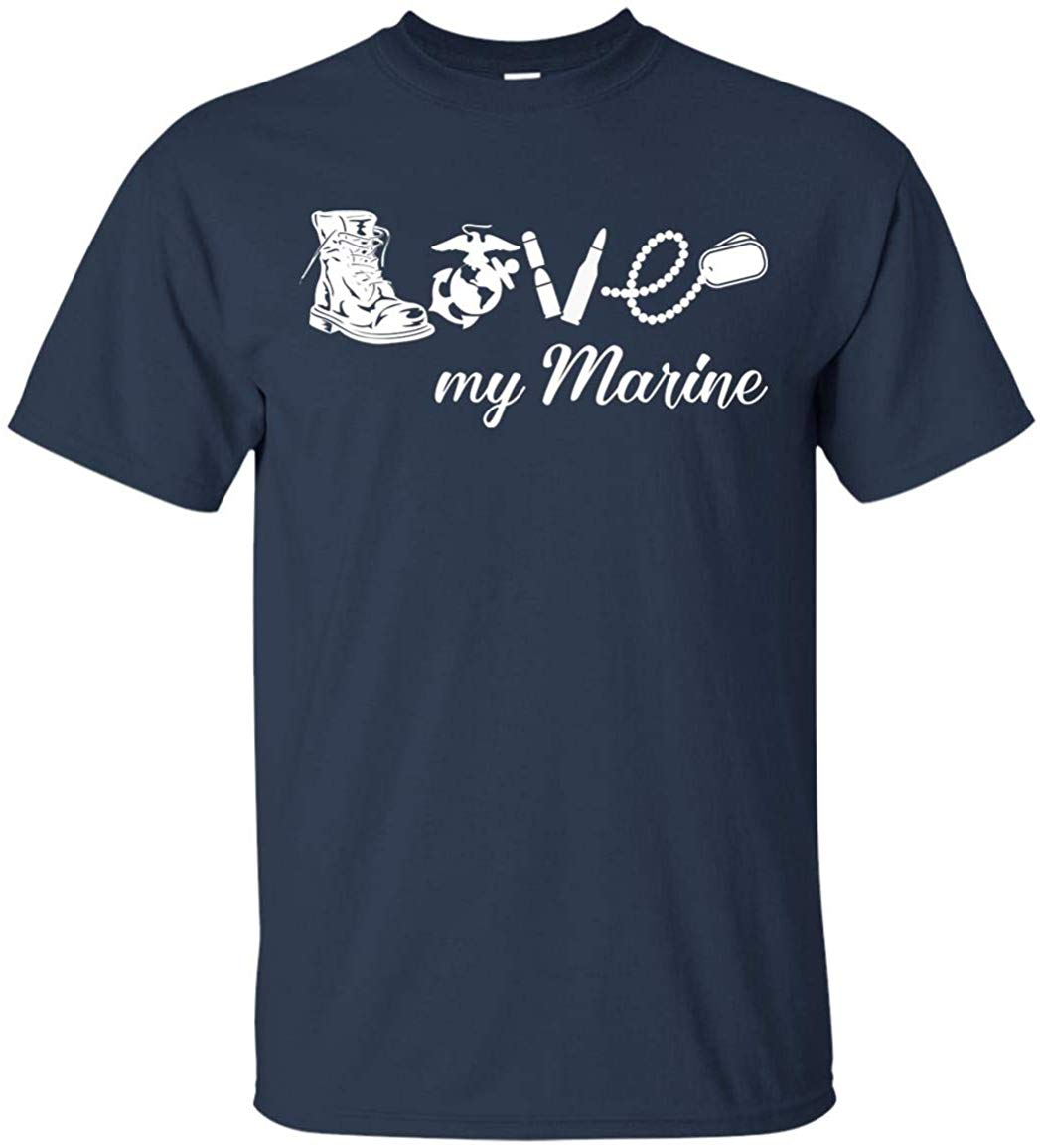 <font><b>USMC</b></font> Marine Corps <font><b>T</b></font> <font><b>Shirt</b></font> Men Women Love My Marine TEE <font><b>Shirt</b></font> Loose Size Top Ajax 100% Cotton <font><b>T</b></font>-<font><b>shirt</b></font> image