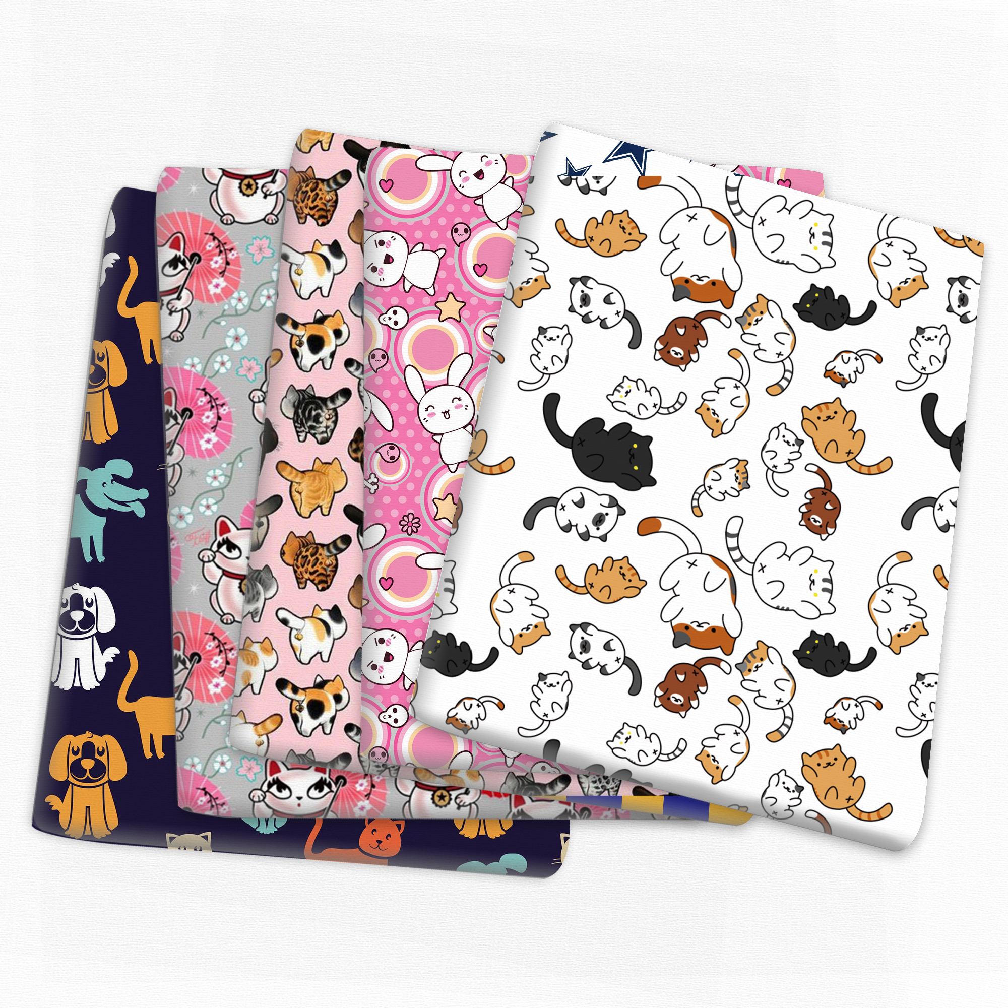 Patchwork Cat Printed Polyester Cotton Fabric for Tissue Sewing Quilting Fabrics Needlework Material DIY Handmade,1Yc16049