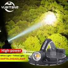 XHP70.2 LED ไฟหน้า XHP70 ส่วนใหญ่ที่มีประสิทธิภาพสีเหลืองหรือ LED สีขาวไฟหน้าตกปลา Camping ไฟฉาย 3*18650 แบตเตอรี่