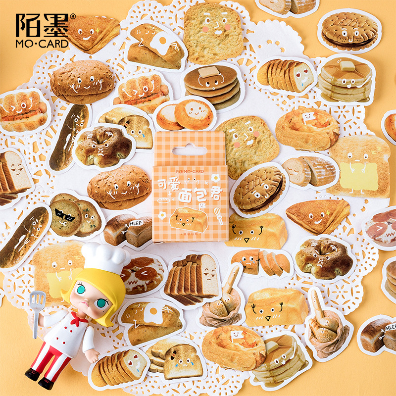 45pcs/pack Cute Bread Cookies Kawaii Stickers Set Scrapbooking Stickers For Journal Planner Diy Crafts Scrapbooking Diary