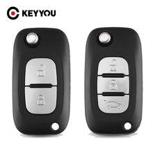 KEYYOU 2/3 düğmeler flip katlanır uzaktan anahtar kabuk Renault kılıfı Clio Megane Kangoo Modu Fob araba anahtarı durum kapak