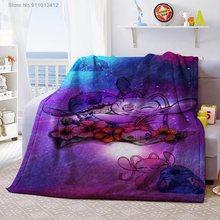 Disney lilo & stitch 3d impresso cobertor thows capa de edredão viagem cama veludo lance de pelúcia meninos do bebê crianças velo cobertor