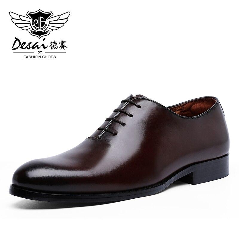 DESAI Oxford hommes chaussures habillées à lacets d'affaires formelles en cuir pleine fleur chaussures minimalistes pour les hommes