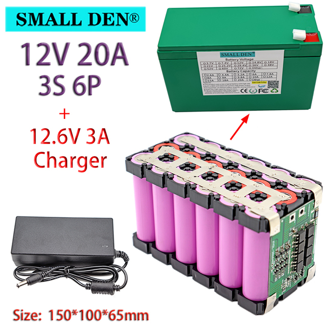 12V 12Ah 20Ah 18650 li ion battery pack 3S 12.6V for Sprayer Appliance Uninterrupted Power Supply With 20A Balanced BMS+ Charger