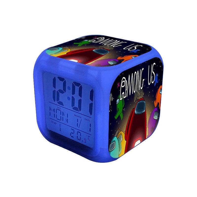 Мультфильм между нами Будильник 7 цветов Изменение Ночной светильник Led цифровые часы-будильник студент настольные часы с термометром, пода...