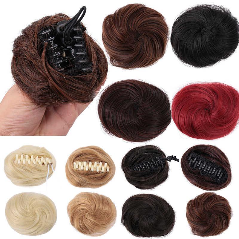 Allaosify sintético desordenado Clip Chignon Donut Garry Color marrón 30g pelo bollo almohadilla elástico cuerda de goma para cabello banda extensiones de cabello