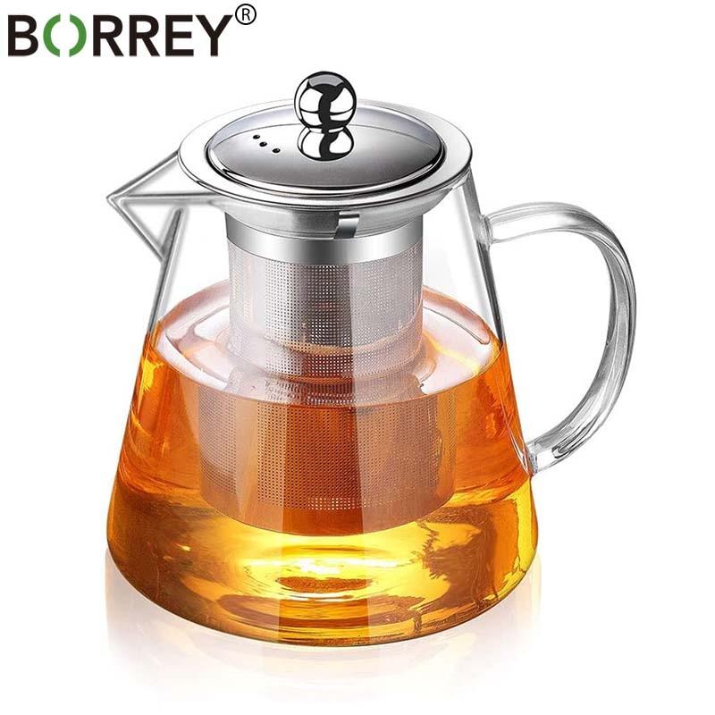 BORREY Tea Infuser Pot Heat-resistant Glass Teapot Cup With Filter Flower Tea Pot Oolong Puer Kettle Glass Coffee Tea Pot 1300Ml