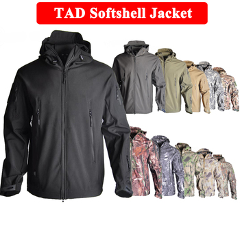 TAD Tactical Men Sharkskin Softshell Jacket Or Pants Military Hunting Suits Hiking Camping Camouflage Waterproof Clothes