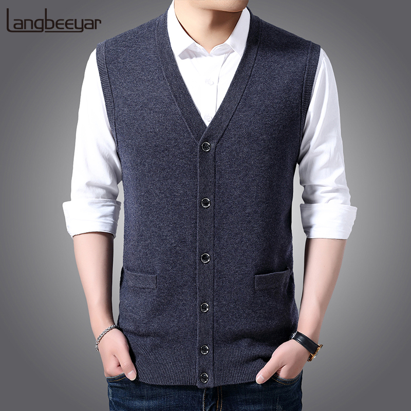 100% Wool FashionSweaters Men Cardigan V Neck Slim Fit Jumpers Knitwear Vest Sleeveless Winter Korean Style Casual Mens Clothes